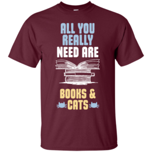 Books & Cat Lover T-Shirt-Round neck