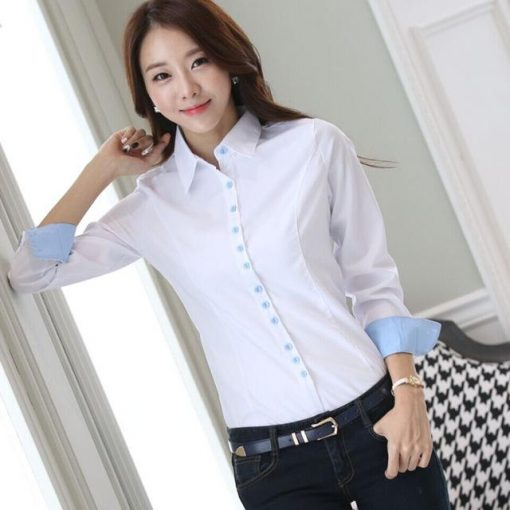 White Office Blouse Clothing Female Casual