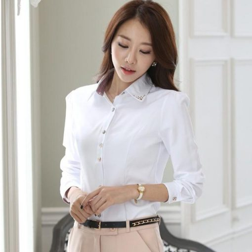 Spring Blouse Shirt Cardigans White Office Clothing Female Casual