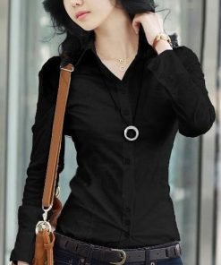 Black Office Blouse Shirt