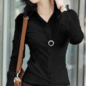 Black Office Blouse Shirt