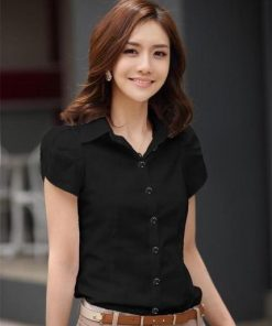 Spring Blouse Shirt Cardigans Black Office Clothing Female Casual