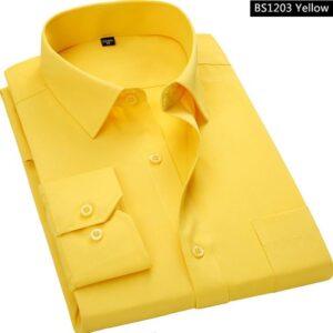 Yellow Men Business Long Sleeved Shirt