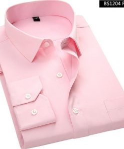 Long Sleeved Pink Men Business Shirt