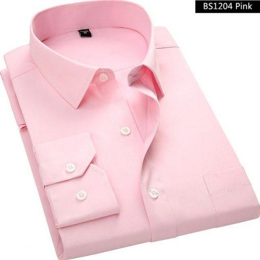 Long Sleeved Pink Men Business Shirt