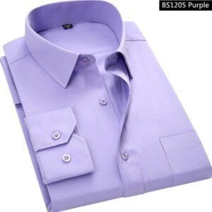 Purple Men Business Long Sleeved Shirt