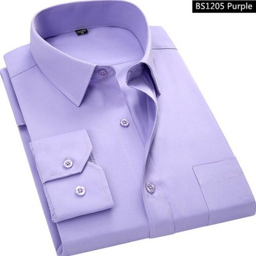 Purple Men Business Long Sleeved Shirt