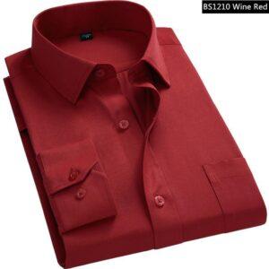 Red Business Long-Sleeved Shirt for Men