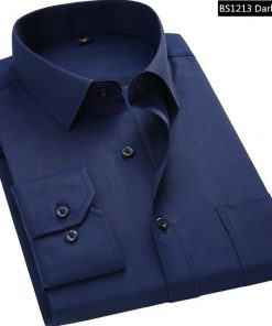 Dark Blue Men Business Long Sleeved Shirt