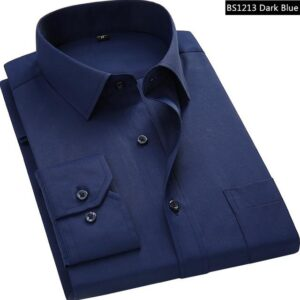 Dark Blue Men Business Long Sleeved Shirt