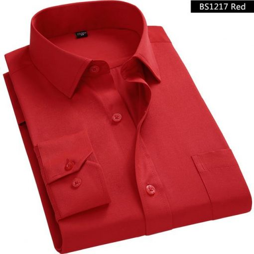 Red Cotton Business Shirt for Men