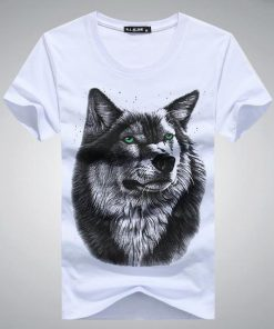 Dog Face Printed Animal Pattern Fashion Slim T-Shirt for Men