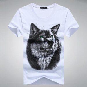 Dog Face Printed Animal Pattern Fashion Slim T-Shirt for Men