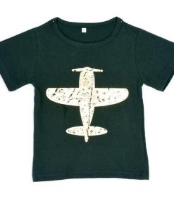 Fashion Lovely Boy Cotton Aircraft Pattern Baby Boys Kids Short Sleeve t-Shirt Shirt Tops
