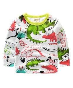 Long-Sleeve Cute Dinosaur Girls/Boys T-shirt for Children