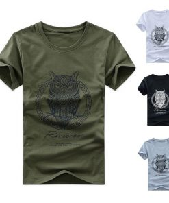 Men Cotton Short Sleeve T-shirt Owl Print
