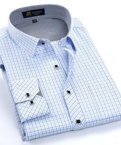 Men Formal Dress Shirt with Thin Plaid
