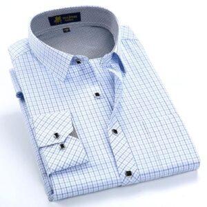 Men Formal Dress Shirt with Thin Plaid