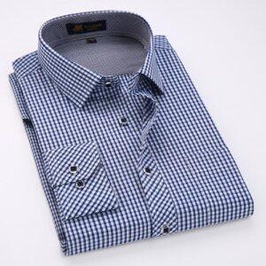 Long-Sleeve Formal Thin Plaid Checkered Casual Shirt
