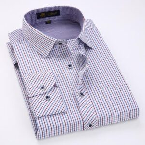 Men's Long Sleeve Thin Plaid Checkered Formal Dress Shirt, Men's Long Sleeve Plaid Checkered