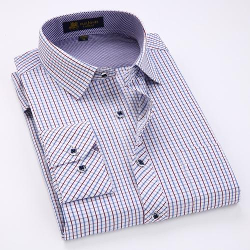 Men's Long Sleeve Thin Plaid Checkered Formal Dress Shirt, Men's Long Sleeve Plaid Checkered