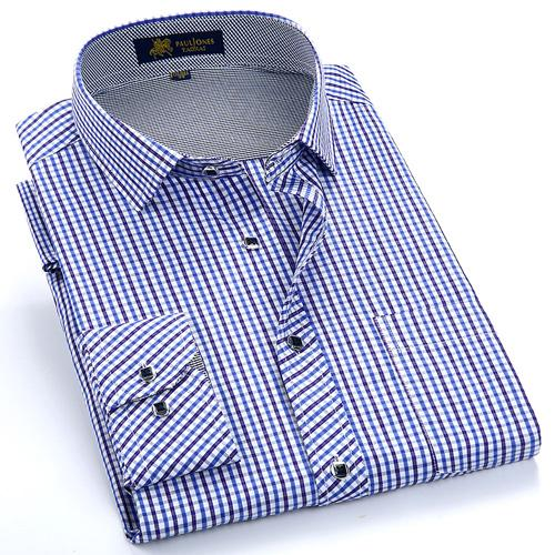 Men Casual Checkered Formal Dress Shirt