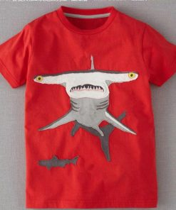 Shark Red Round Neck Cotton Tees for Boys