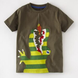CoolKids Brown Round Neck Cotton Tees for Boys