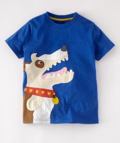 Blue Cotton Dog Lover Kids Short Sleeve T-shirt
