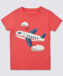 Red Colored Round Neck Cotton Tees for Boys