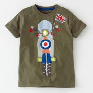 Bike Design Cotton Brown Short Sleeve T-shirt for Boys