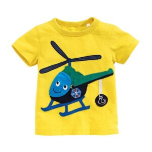 Helicopter Design Yellow Soft Round Neck Tees