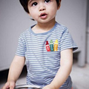 Striped Blue 100% Cotton Tees for Boy Kids
