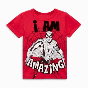 Spiderman Lover Red Round Neck Short Sleeve Tees for Boy