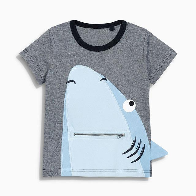 Round Neck Grey Colored Shark Design Cotton T-Shirt for Cool Boy