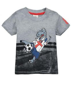 Grey Orange Football Round Neck Cotton T-Shirt for Boys
