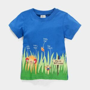 Grass Printed Round Neck Cotton T-Shirt for Boys