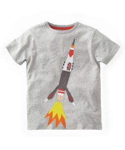 Rocket Printed Grey 100% Cotton Short Sleeve Tees for Boy Kids