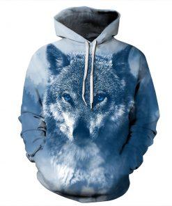 CoolShirts Snow Wolf Blue Pullover Unisex Hoodie / Sweatshirt