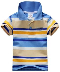 Child Baby Boy Stand Collar Striped T-shirt