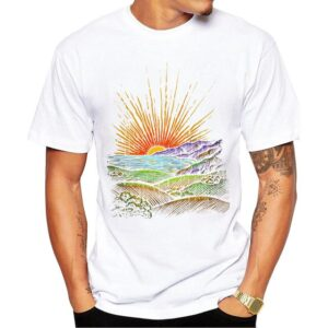 CoolShirts Retro Fashion T-Shirt Short Sleeve Fractal Pattern for Men