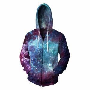 Colorful Galaxy Print Zip Pullover Unisex Hoodie Sweatshirt