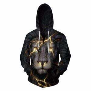 Gold Lion Printed Zipper Pullover Unisex Hoodie Sweatshirt