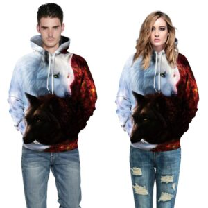 Black and White Wolf Design Pullover