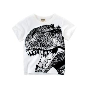 Dinosaur Black & White Round Neck Cotton T-Shirt for Boys and Girls