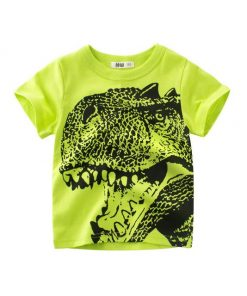 Dinosaur Green Round Neck Cotton T-Shirt for Boys