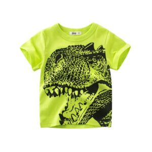 Dinosaur Green Round Neck Cotton T-Shirt for Boys