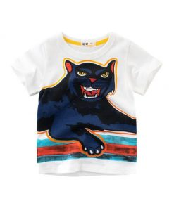 Cat Print Design White Blue Tees for Boy Kids