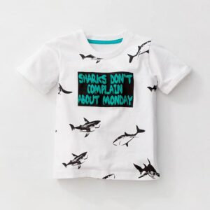 Sharks Print Design White and Green Short Sleeve Tees for Boy Kids