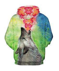 Colorful Spring Wolf Printed Unisex Hoodie/Sweatshirt